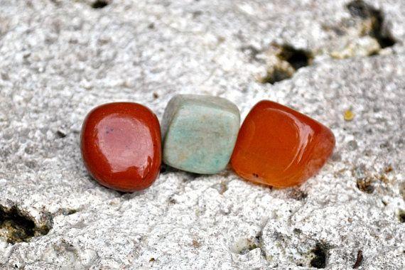 VIRGO Set of 3 Crystals Tumbled Gemstones | Carnelian, Red Jasper, Amazonite | Astrology Zodiac Meditation Yoga, August September Birthday by MayanRoseShop on Etsy