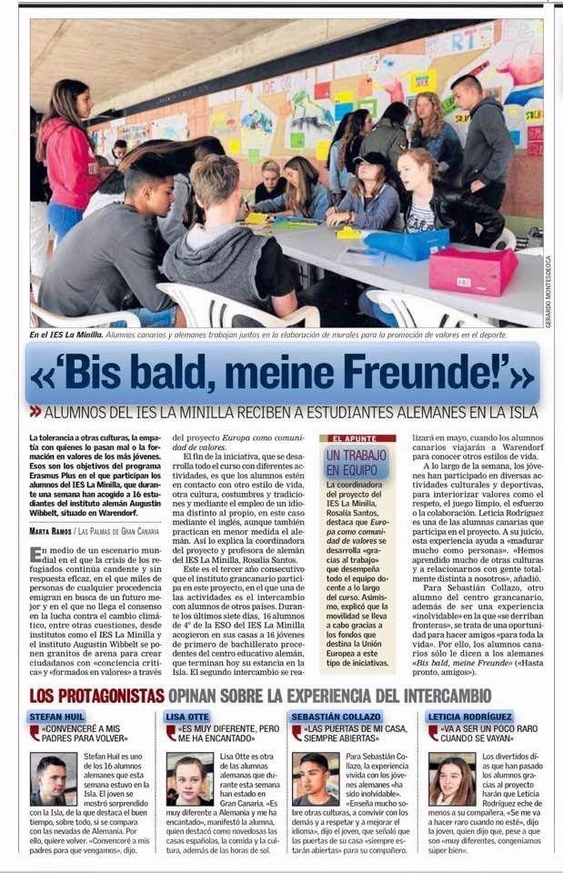 Erasmus+  IES La Minilla  EUCOCOVA: Europa como comunidad de valores: El intercambio en la prensa. Canarias 7 del día 11...