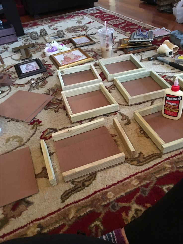 DIY 9x9 Shadow Boxes! Easy!  1. 1x2 boards (QTY 3) 2. Tempered Hardboard (QTY 1) 3. Wood glue  4. 1 in panel board nails (358 pack)  Have them cut everything in store for you!   Total cost: less than 15 bucks (and that's if you don't already have nails and glue!).  Retail cost: 8 Shadow Boxes at 12 a piece on sale 72 bucks.