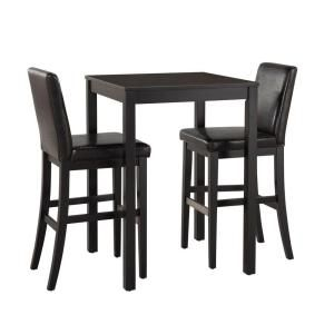 Home Styles Nantucket 3-Piece Black Wooden Bistro Table Set-5033-358 at The Home Depot