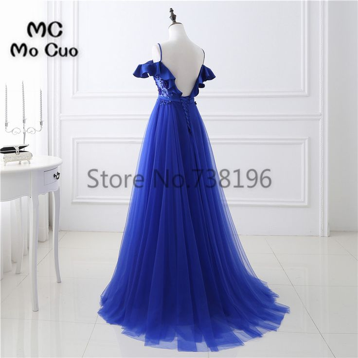 Royer Blue Prom dresses Long with Beaded Sequined long graduation dresses Tulle Backless Women Evening Prom. Click visit to buy #PromDress #Dress