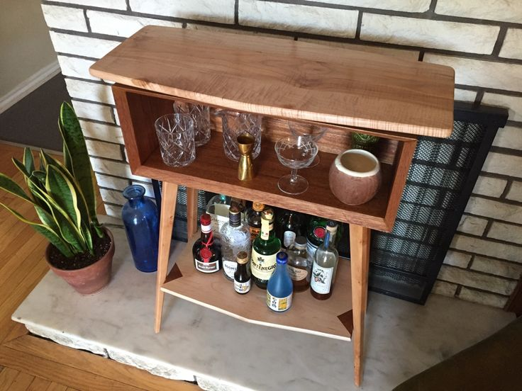 Built my friend a small bar table for her living room. Mahogany and maple. #cocktails #drinks #HappyHour #food #sun #lunch #bar #London