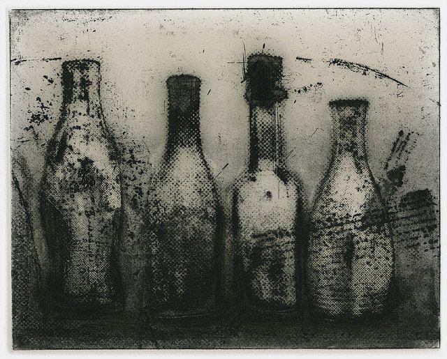 4 bottles II  Masahiro Kawara Etching / giclee 2011