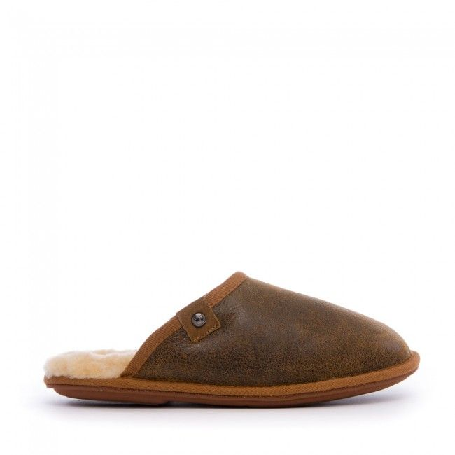 Keifer - Distressed Double Facing Sheepskin Mule - Distressed Coffee - Side