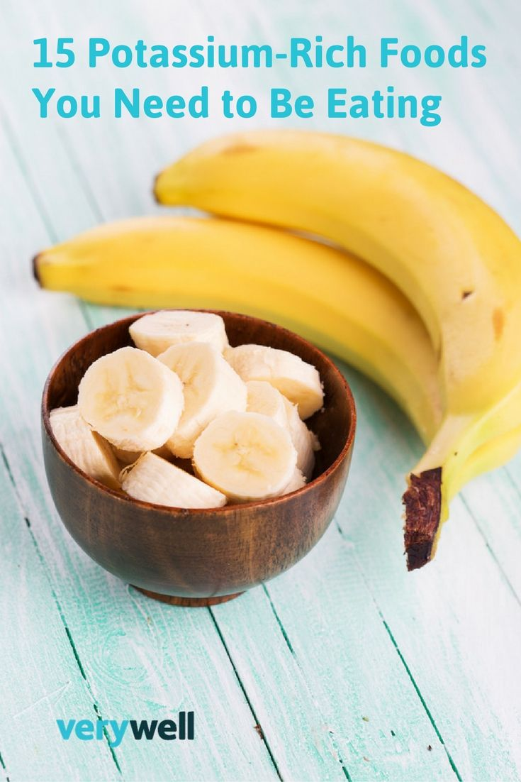 Bananas are pretty well-known as a high-potassium food. And for good reason -- one medium banana has more than 400 milligrams potassium. It also has plenty of B vitamins, three grams fiber, and about 100 calories. Learn more about which foods are rich in potassium and how to incorporate them into your diet here.