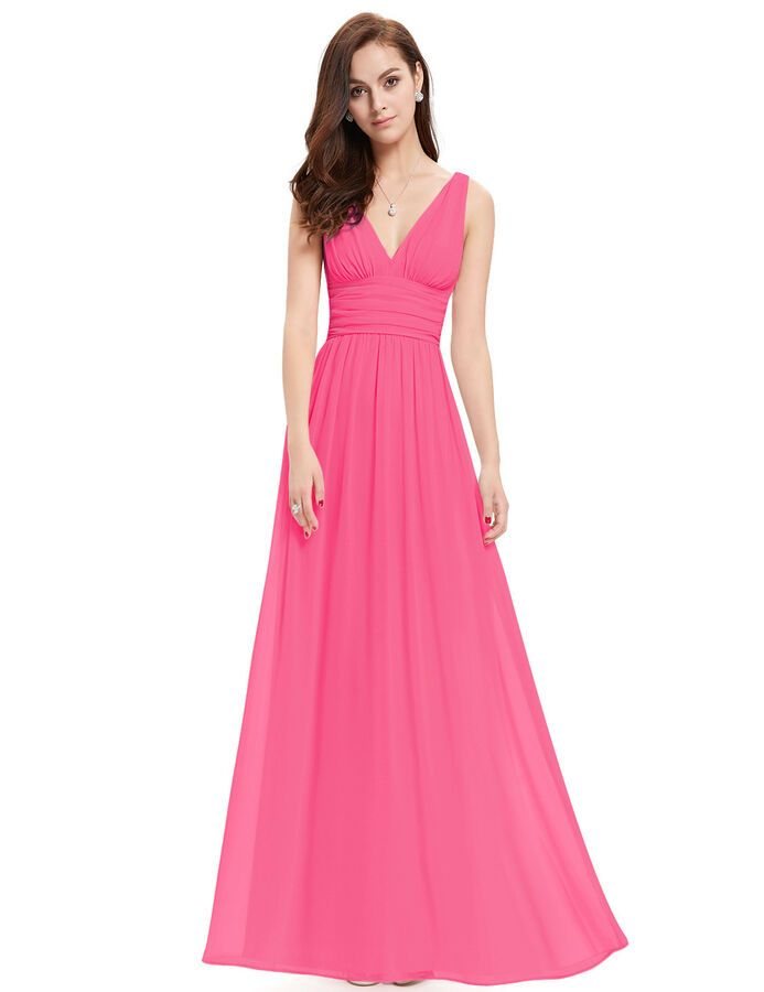UK Ever-Pretty Chiffon V Neck Long Bridesmaid Dresses A Line Evening Party Gowns