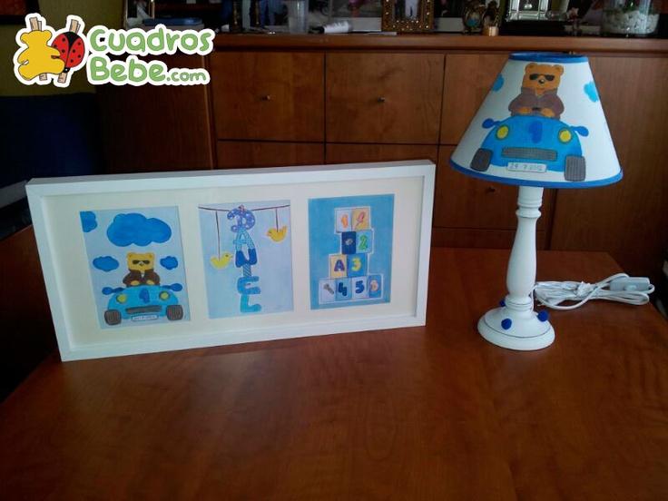 Conjunto de cuadro triple y l mpara para habitaci n - Lampara habitacion infantil ...