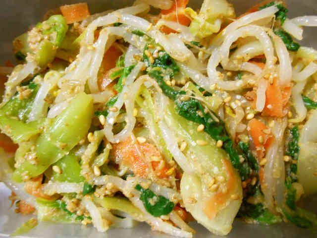 青梗菜と人参ともやしのナムルの画像