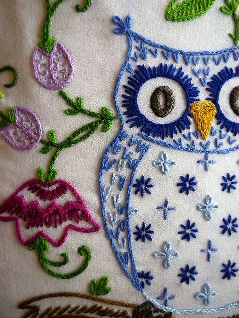 Woodland Owl Hand-Embroidered Top/Shirt