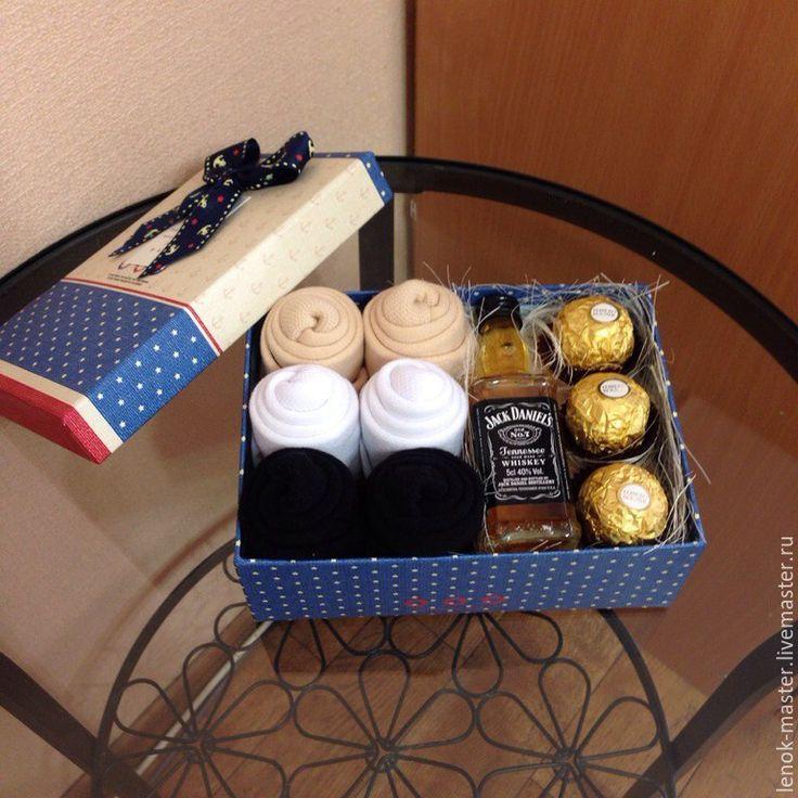 Купить Мужская коробка с носками,конфетами,алкоголем - синий, подарок мужу, подарок парню, сюрприз