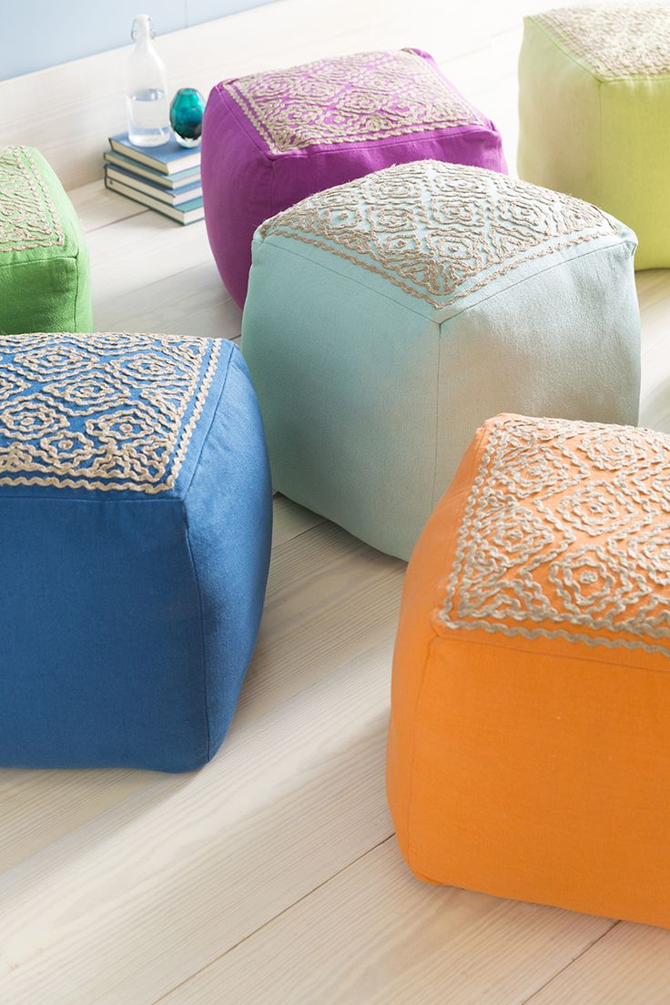 best poufs images on pinterest  poufs ottomans and accent  - perfect pop of color for the upcoming spring season linen atlas poufs withwoven detail by designer for surya