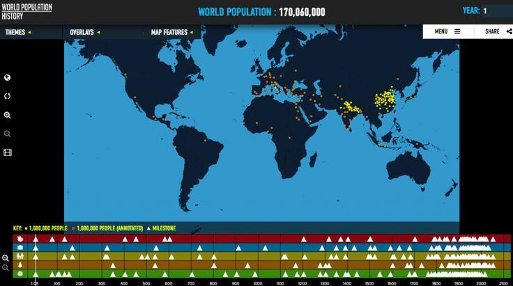 Weer een mooie bewegende kaart, met onderin historische mijlpalen per categorie: voedsel, wetenschap, gezondheid, politiek etc. Toch al 170 miljoen mensen in jaar 1.(tip van Michiel Stade)