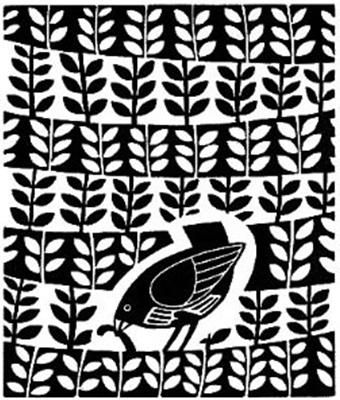 The Lino Bird VII by Linda Farquharson...I really like the balance of background pattern and subject. Simple and elegant.