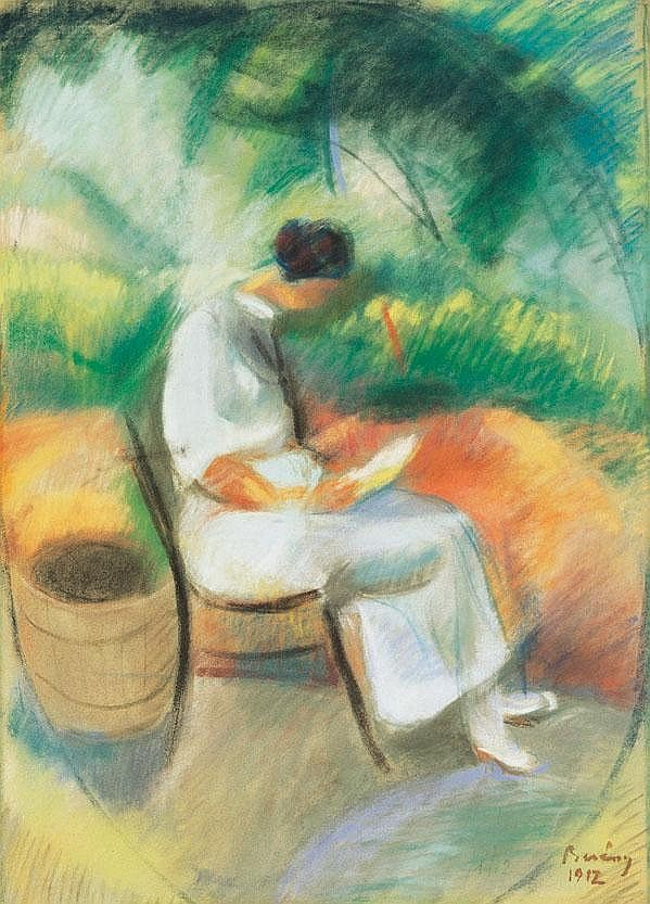 Berény Róbert ''Reading Woman in the Villa Garden'' 1912 re-pinned by: http://sunnydaypublishing.com/books/