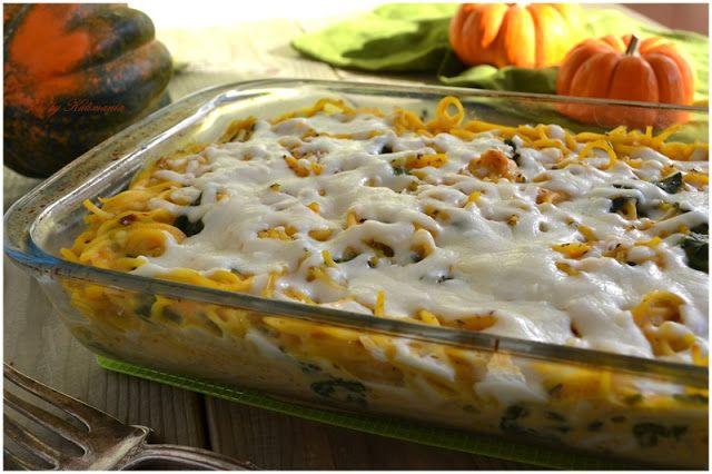Тыквенный кассероль из пасты,сыра и шпината (запеканка из пасты) -