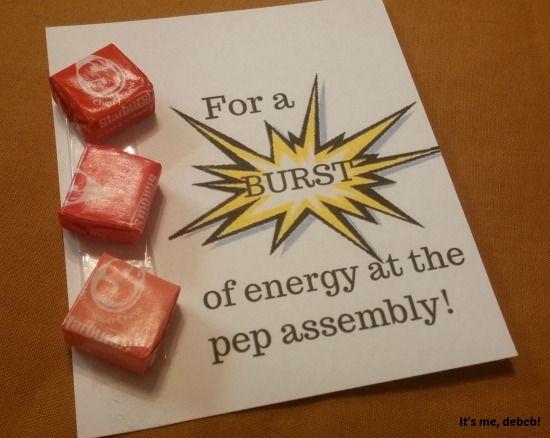 Super easy motivator for a pep assembly!- It's me, debcb! #danceteammotivators #Starburst