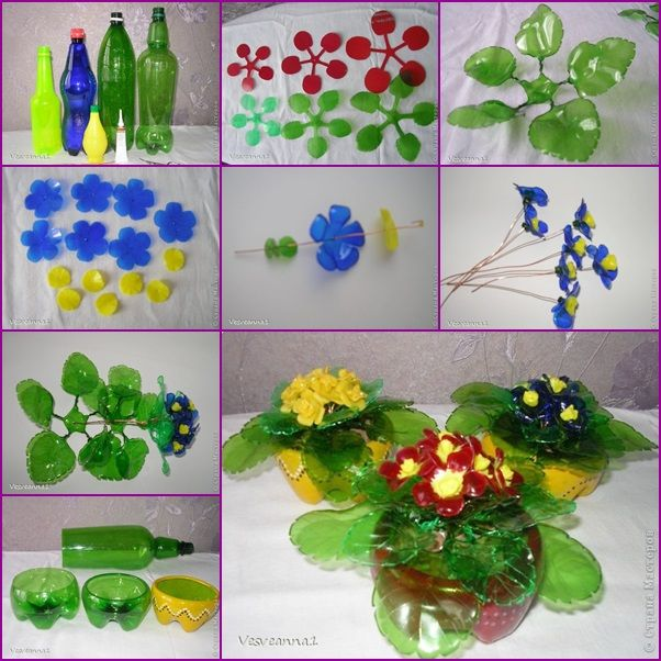 How to DIY Violets Bouquet from Plastic Bottles tutorial and instruction. Follow us: www.facebook.com/fabartdiy