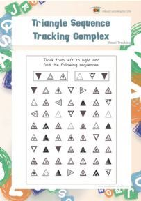 """In the """"Triangle Sequence Tracking Complex"""" worksheets, the student must find the same triangle sequences as the examples at the top of the page."""