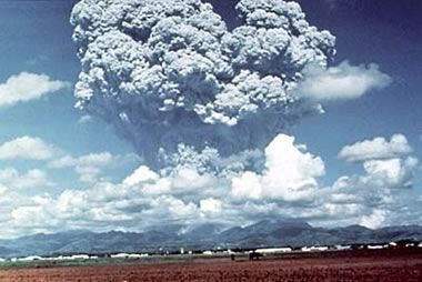 Pinatubo eruption - The explosive eruption of Mount Pinatubo in the Philippines on June 12, 1991 ejected more than five cubic kilometers of material and was rated as a VEI 5 eruption on the volcanic explosivity index. Much of that material was pumice lapilli (see image below) that blanketed the landscape around the volcano. USGS image.