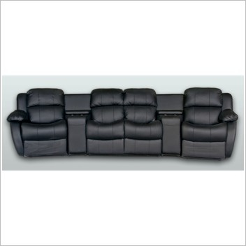 By Designs Leather 4 Seater Home Theatre Entertainment Lounge Suite with 2 Recliner