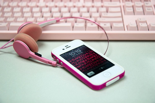 Pink iPhone case.