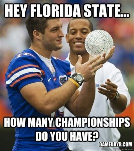 The Gators not only hold a 33-21-2 all-time series lead, but a 3-2 national championship edge. What say you Noles?