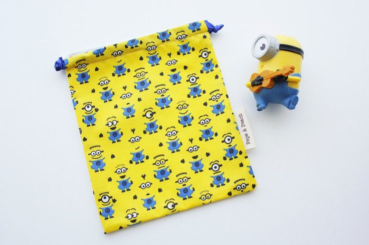 Despicable me, Minion Goodie Bags, Party Favors,  Birthday Favors, Kids bag, Pouch, Yellow, Blue Ribbon