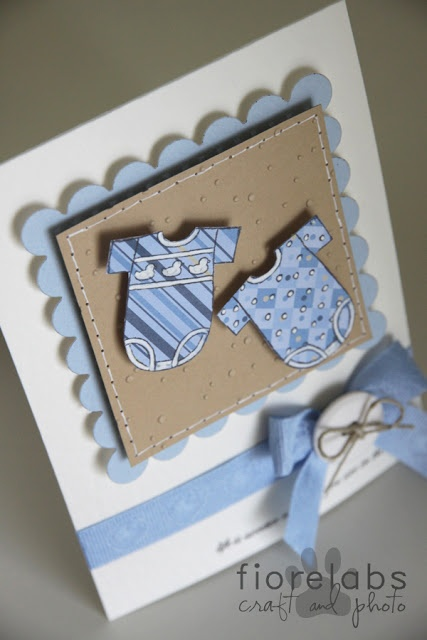 adorable handmade card for twin boys ... luv the onesies!!!