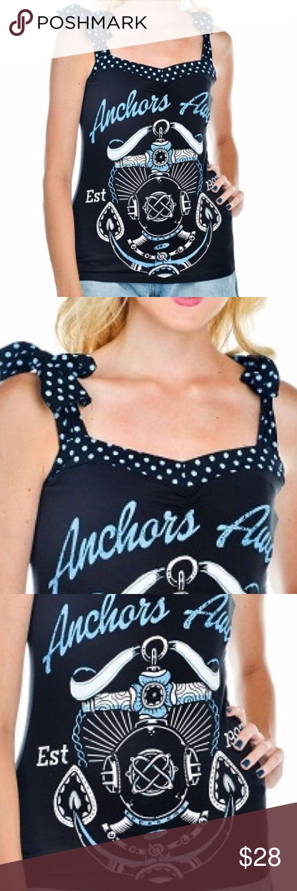 """Too Fast Annabel Bow Top Scuba Helmet Anchor Shirt Brand New with Tags Sold out in stores Fitted jersey top with gathers at the bust and straps that tie at the shoulders Polka dot straps and trim. Anchors Away graphic on the front. Content & Care:  Cotton/Spandex Machine wash cold. Tumble dry low. Annabel Bow Tank                     S         ML       XL Bust27 1/2""""29""""30 1/2""""32"""" Waist25 1/2""""27""""28 1/2""""30"""" Too Fast Tops"""