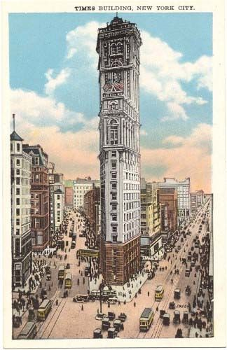 Vintage postcard of the Times Building postmarked February 1909. From the collection of Alan Ladd.