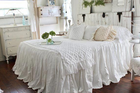 Superb Ruffled Bedspread Shabby Chic Bedding Ruffled Bed Cover Home Interior And Landscaping Staixmapetitesourisinfo
