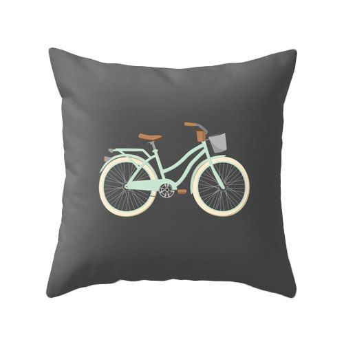 Mint bike and charcoal grey in this retro bike illustration pillow cover that will liven up any room.    Please select which size you would like using