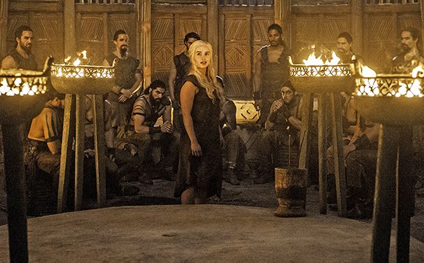 """Notice: This post contains a spoiler from Sunday's Game of Thrones, """"Book of the Stranger""""...  Daenerys Targaryen added another spectacular feat to her legendary history on Sunday night's Game of Thrones. She not only escaped her Dothraki captors, but also brought the house down — literally — with an epic fire-goddess scene that reminded everyone the Mother of Dragons is not to be trifled with."""