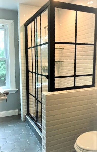 Matte Black Grid Design Gridworks On Sliding Shower Door