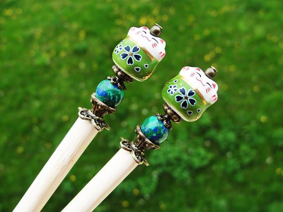 Set of 2 japanese wooden hair sticks with maneki neko, fortune lucky cat and green blue beads - kanzashi, chopsticks, pins, hair ornaments