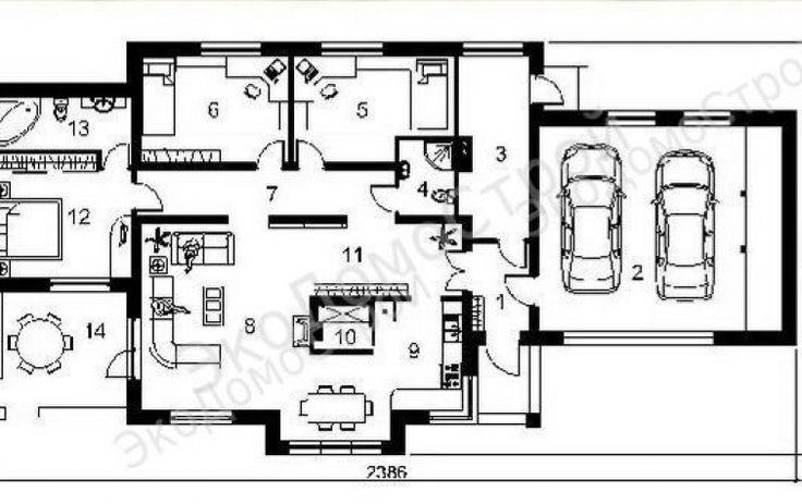 Одноэтажный зимний дом для круглогодичного постоянного проживания с гаражом для двух автомобилей