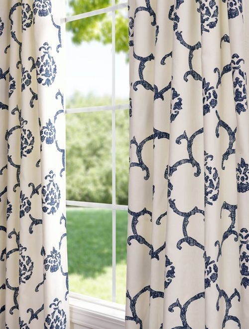 Impressions Blue Printed Cotton Curtains D