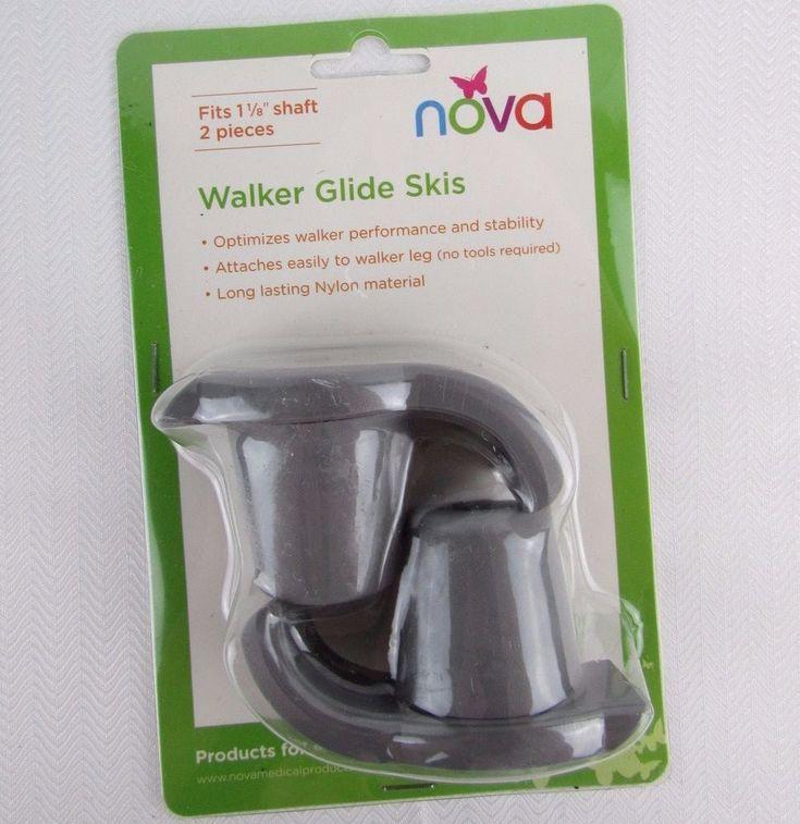 """Walker Glide Skis Nova Medical Products Grey 40027GR Fits 1 1/8"""" Shaft Mobility #NOVA"""
