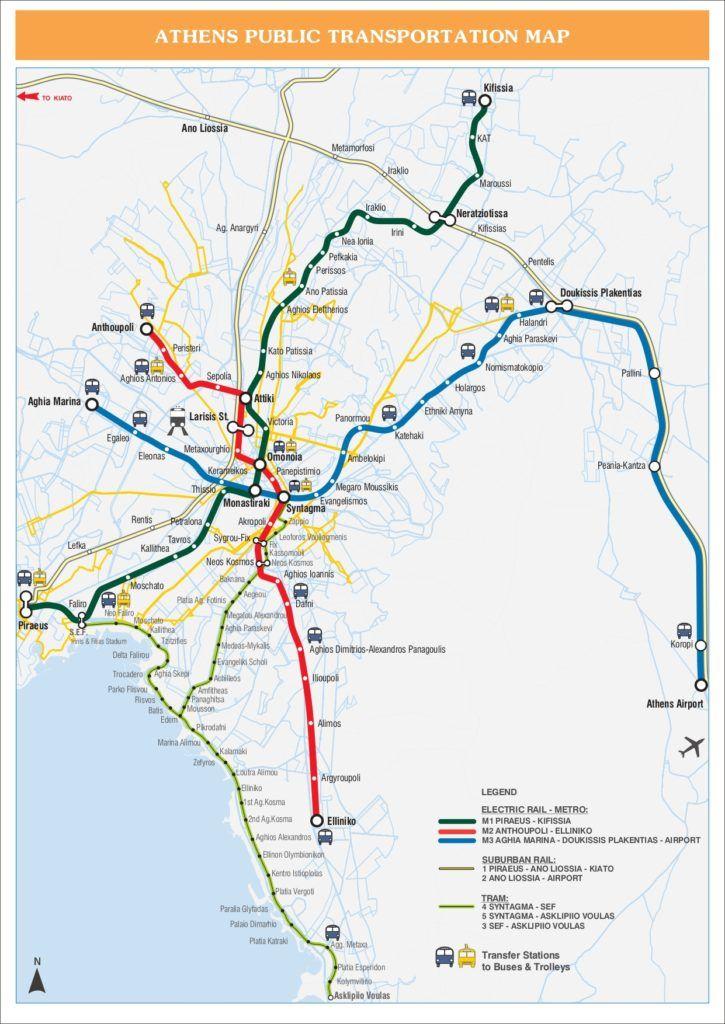 Athens Urban Transportation Network Map Pdf File Download A Printable Image File English Version Official Website Link Athens Met Athens Metro Metro Map Athens