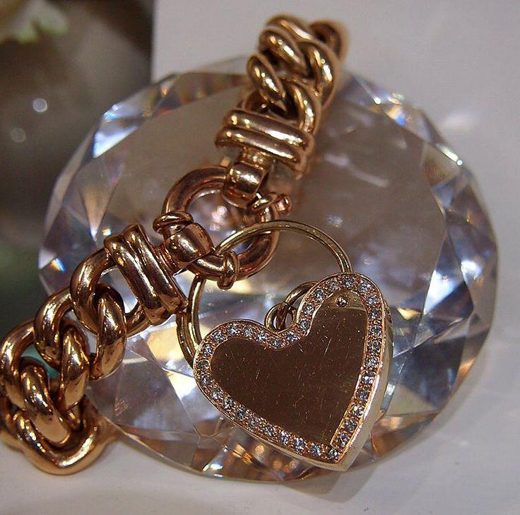 Jewellery-Pendant-Vintage-9 carat Rose Gold diamond set large Heart padlock locket and bracelet