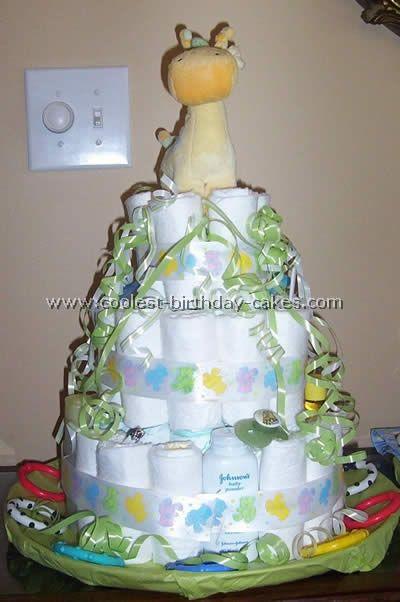 Blue Giraffe Baby Shower Cake