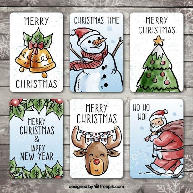 Packung von Hand gezeichneten Weihnachtskarten mit Aquarell-Effekt Kostenlose Vektoren