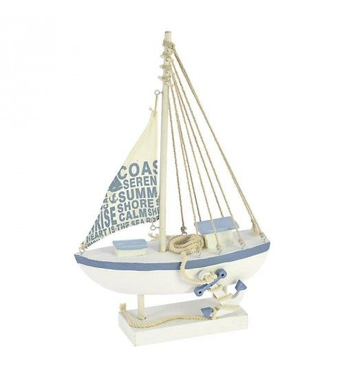 WOODEN SHIP IN WHITE-LT BLUE COLOR 23X9X37_5