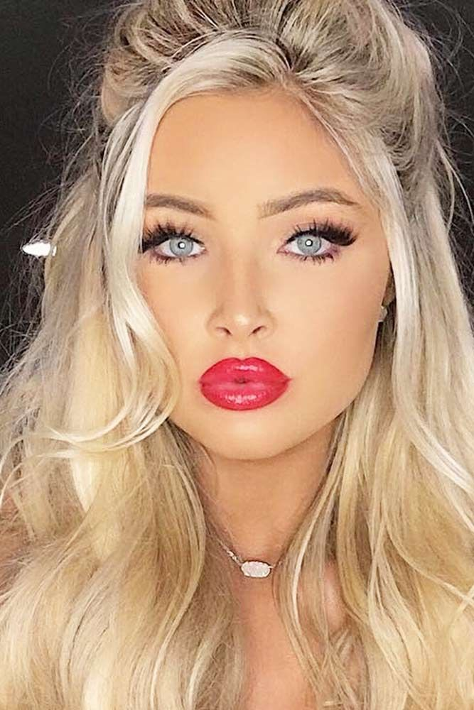 The Perfect Red Lip As Pretty As Red Flowers For Every Skin Tone Perfect Red Lips Blonde Ponytail Red Lip Makeup