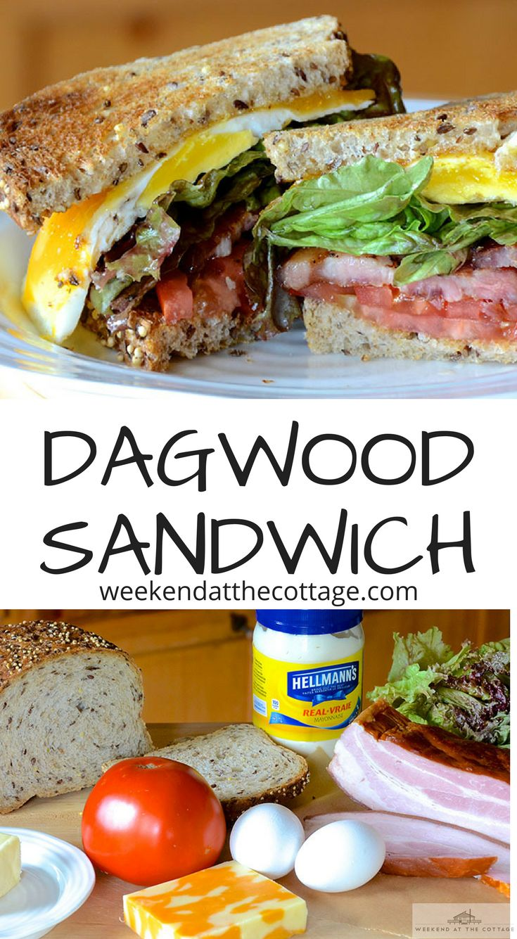 Lettuce, tomato, crispy bacon, melted cheese and a fried egg between two slices of lightly toasted bread – this DAGWOOD SANDWICH always hits the spot. #lunch #sandwich #BeEggsquisite #eggs #bacon