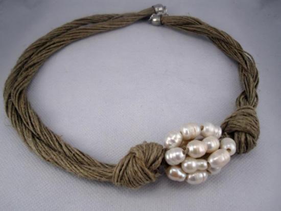 collar lino natural cluster perlas naturales trenzado lino,perlas naturales engarzado,anudado