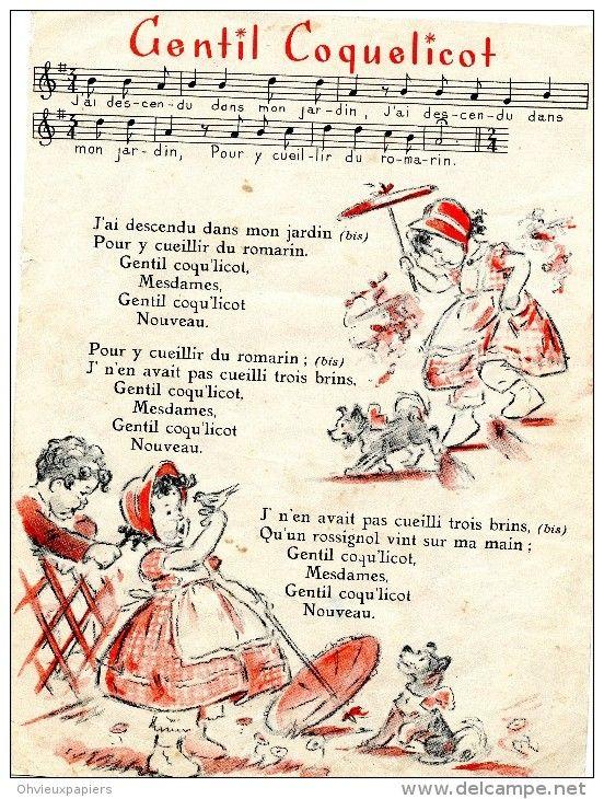 ronde et chansons enfantines , dessins de  GERMAINE BOURET  sur le pont d'avigon , au clair de la lune , gentil coquelic