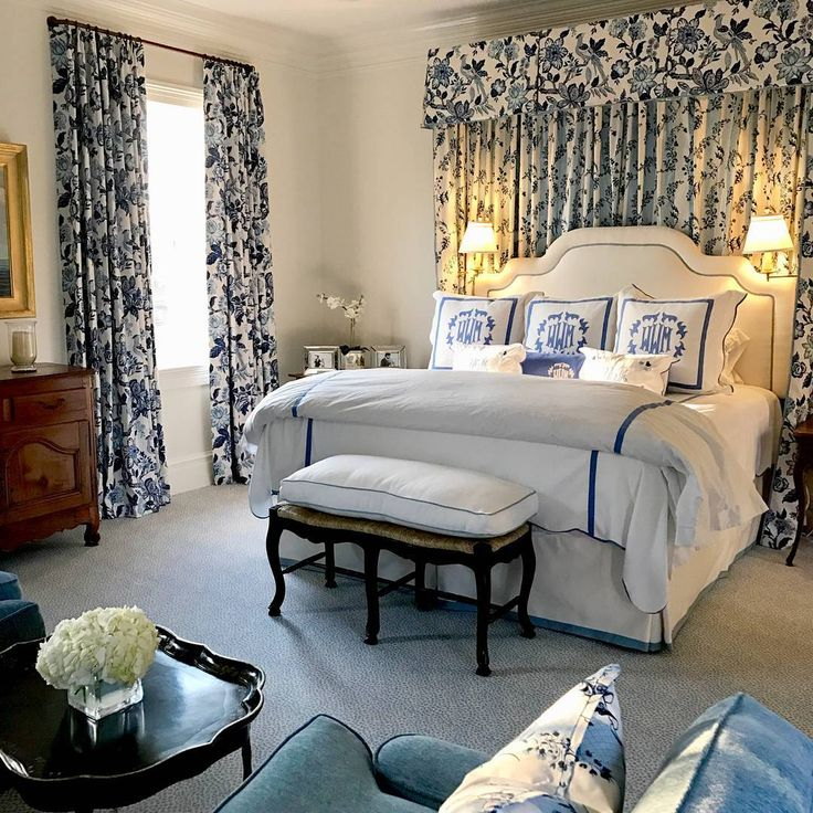 """234 Likes, 3 Comments - Schumacher (@schumacher1889) on Instagram: """"Blue, white and everything nice. This is bedroom bliss with our #HuntingtonGardens fabric by…"""""""