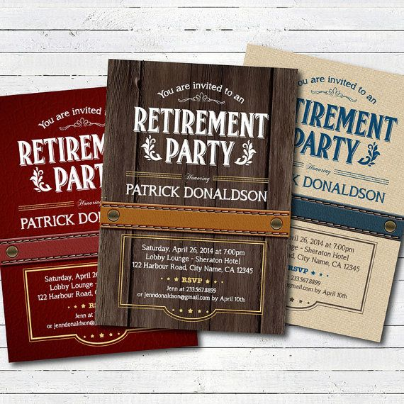 retirement party invitation vintage rustic wood leather