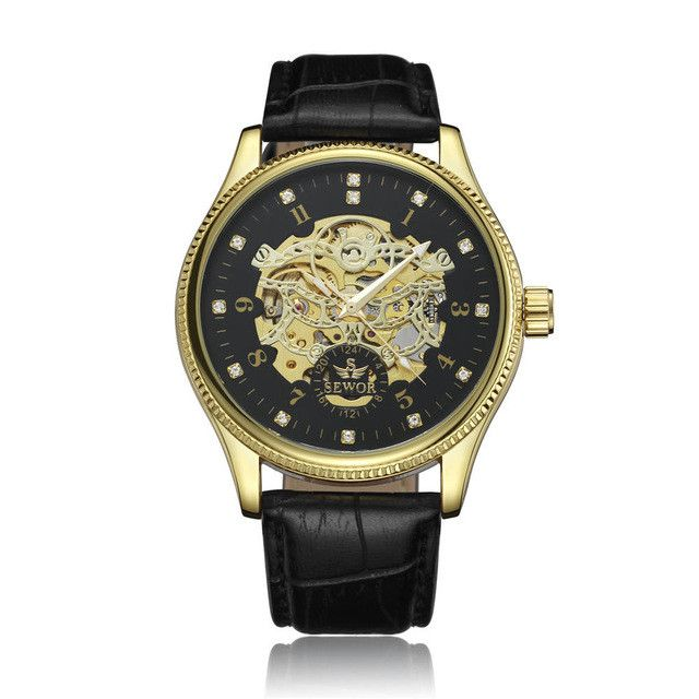 SEWOR Top Brand Luxury Men's Watch Men Wrist Watch Automatic Mechanical Skeleton Male Classic Clock Military Sport Clocks SE075